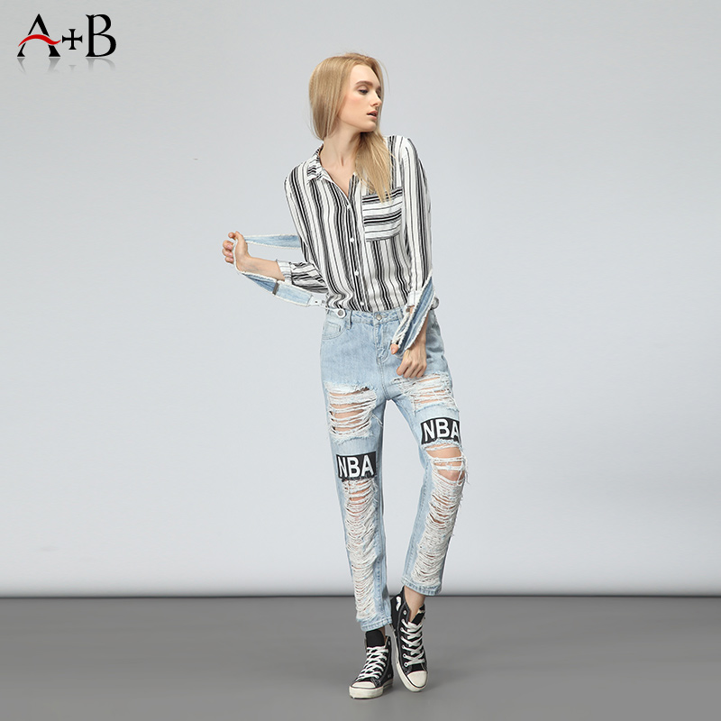 Hot sale destroyed ripped blue overalls jeans women with high quality