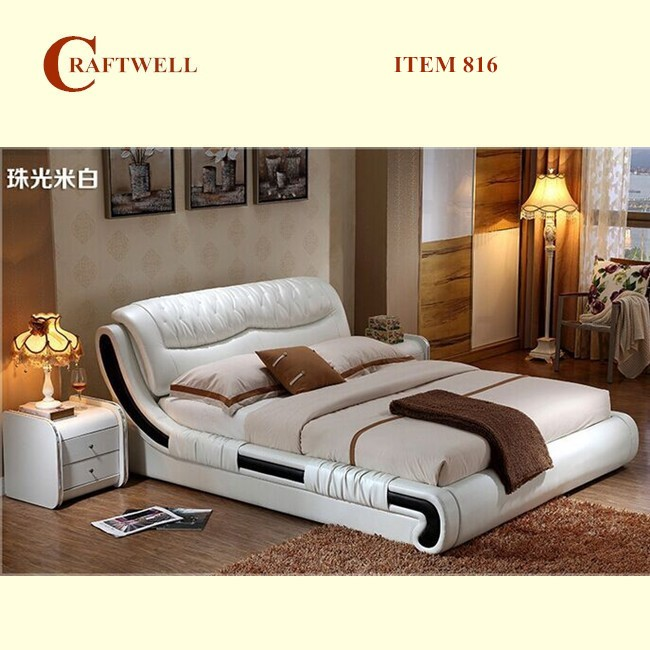 korean style luxury italian genuine white faux latest soft modern leather bed designs in china