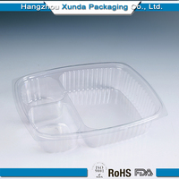 3 compartment Disposable Clear Plastic Takeaway Food Container
