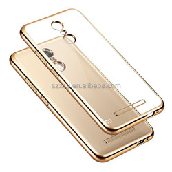 Waterproof Electroplate Soft TPU Transparent Back Cell Phone Case Cover for Xiaomi Redmi Note 3