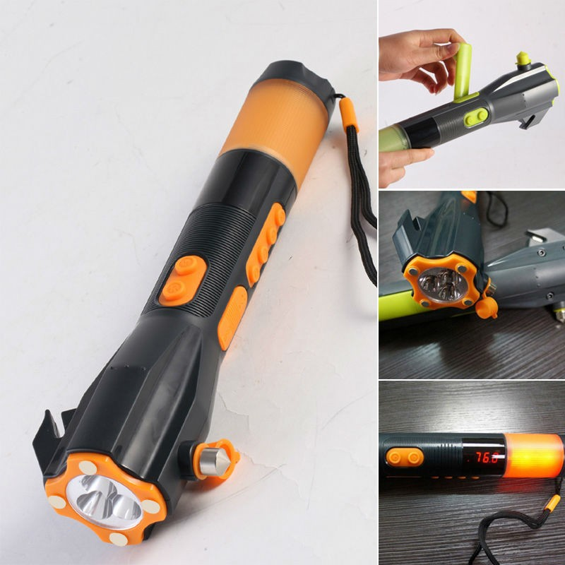Hand Crank Dynamo Flashlight 3 LEDs Torch Vechile Safety Hammer Disaster Relief Multi-functional AM/FM Radio Battery Cell Charge