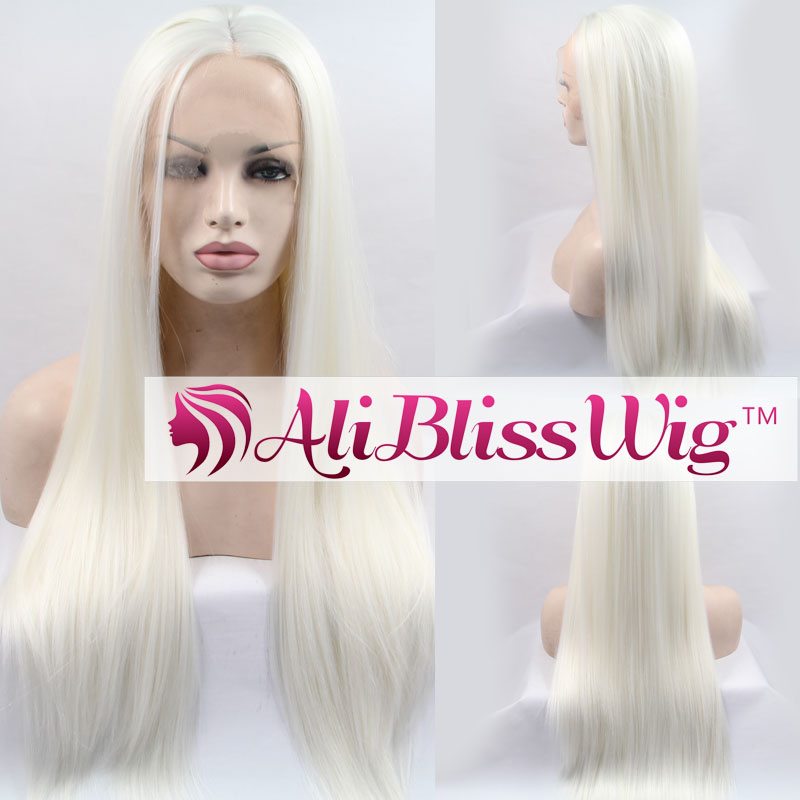 Wholesale Heat Resistant Fiber Hair Middle Part Long Straight Halloween White Blonde Synthetic Lace Front Wig for White Women