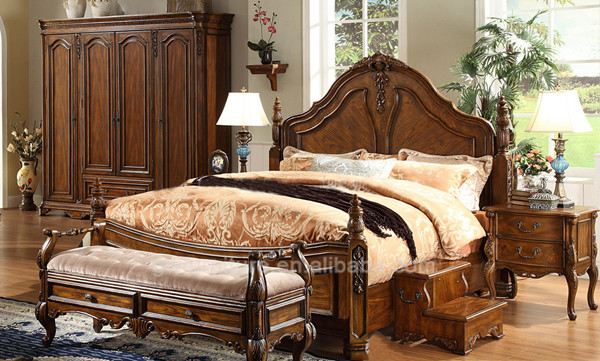 A02.1 antique hand carving bedroom furniture, solid <strong>wood</strong>, america style
