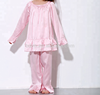 Fashionable professional pink child silk pajamas suit