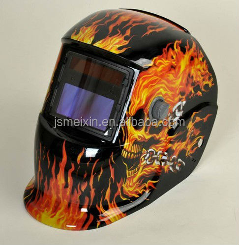 full colour shell with fire picture sticker and auto darkening filter waiting for your choice