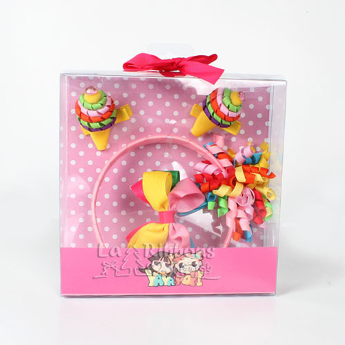 Fancy Candy Baby Girl Headband & Hair Clips Gift Set Curly Ribbon Bows Hair Accessory Set
