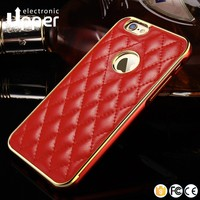 2016 cheap price hybrid mobile cover high quality cell phone aluminum+ pu leather hard case for iphone 6 plus