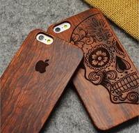 Wood Full Carved Totem Images Skin Back Cover Case Skin Protector For iphone6 4.7 COVER