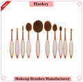 New design new product best quality white and rose gold 10pcs toothbrush makeup brushes