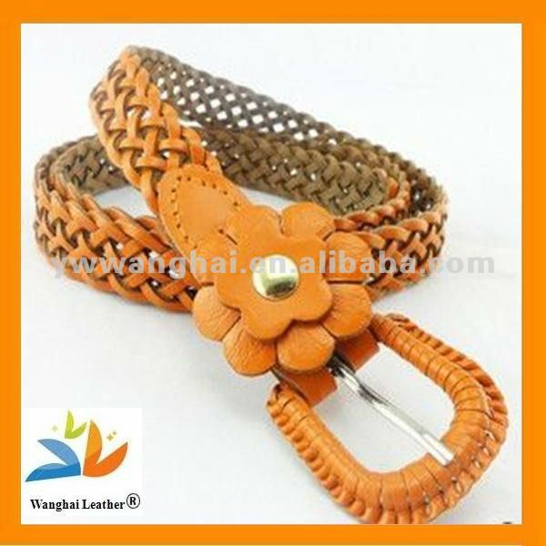 New Arrivals Pu belt braided belt with flower for lady