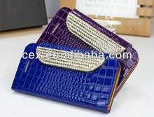 Wholesale - Hot sale Deluxe Crocodile Gold Bling Card slot Flip Wallet Leather Case for iPhone 5 5S