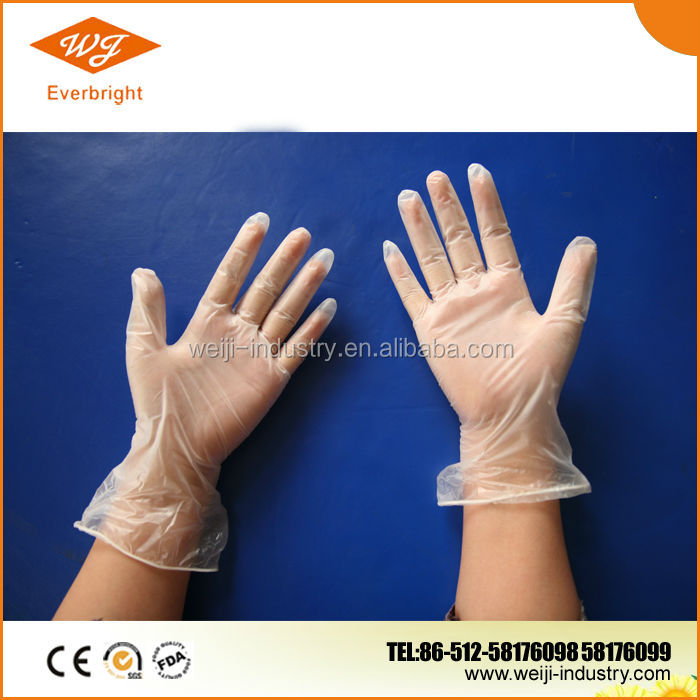 white clean vinyl disposable glove approved FDA, CE, ISO