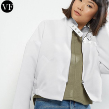 Young women custom fashion design jacket plain white bolero biker jacket