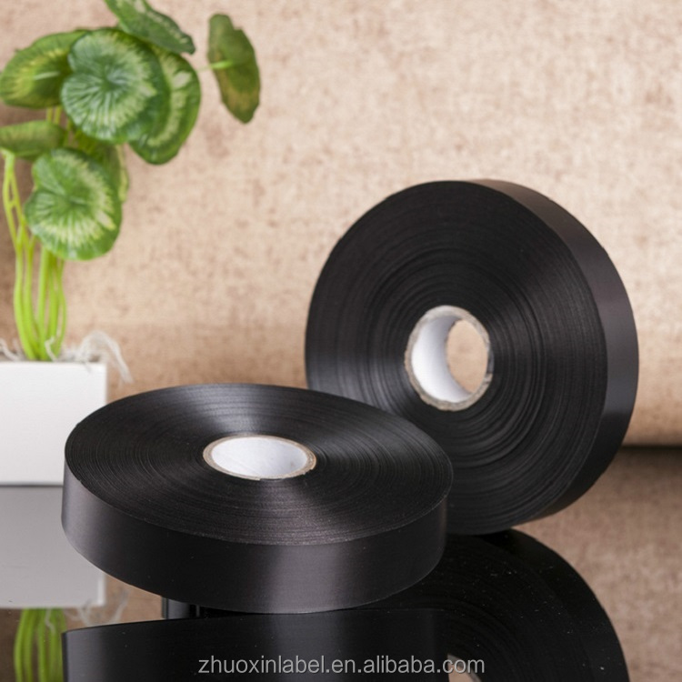 32mm single face black hot stamping care label satin ribbon