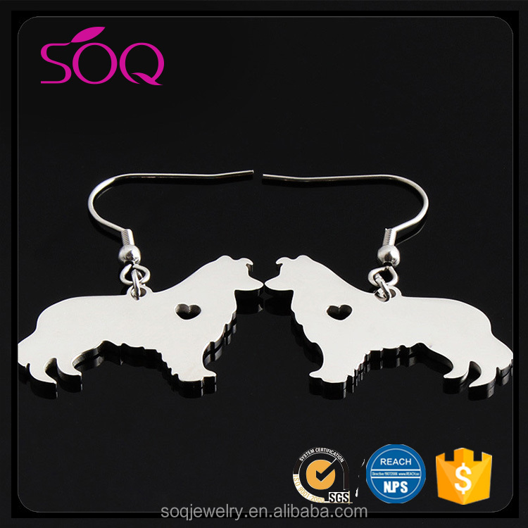 Custom simple style stainless steel cute dog pendant jewelry silver plated earring