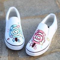 NO.W020 Candy Hand painted low price slip-on rubber sole white canvas shoes wholesale