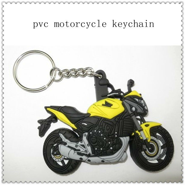 2013 hot!!! custom rubber motorcycle keychains with charm for promotion gifts