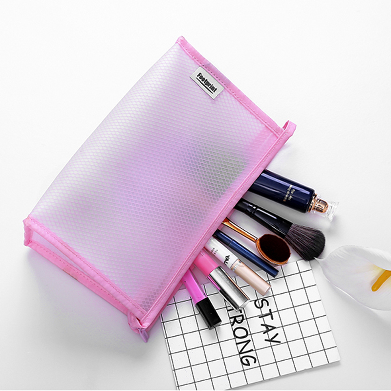 2017 Designer semi-transparent EVA waterproof Cosmetic Bag, large compartment hanging Toiletry cosmetic pouch with Zipper