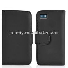 Solid color leather flip card case for BlackBerry Z10