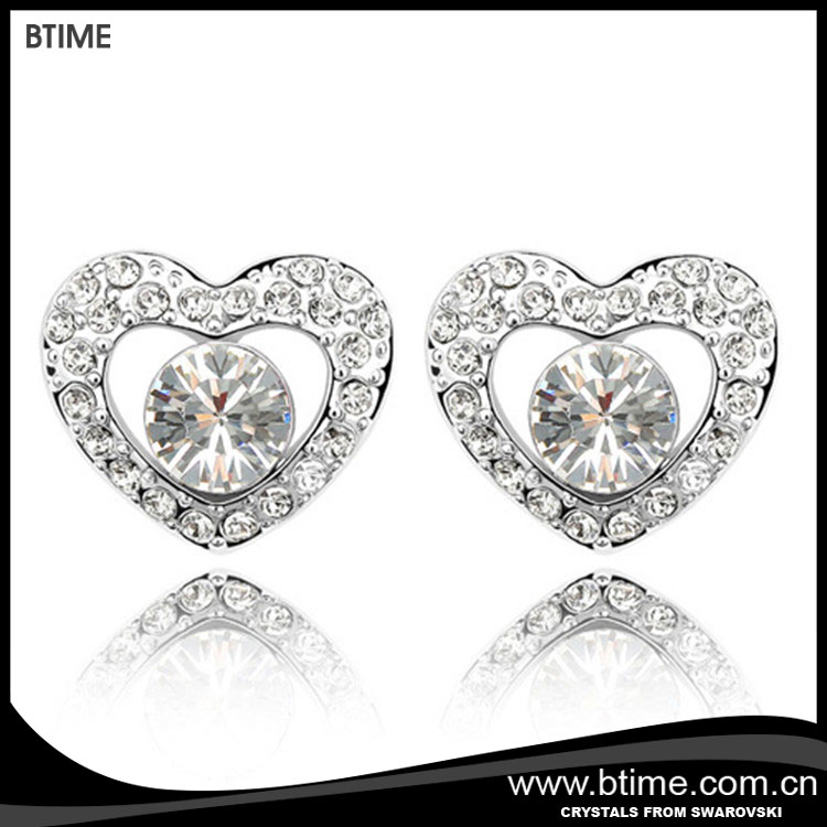 Heart shaped stud earrings crystals from Swarovski