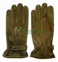 Men's fashion pig suede pig split leather glove with back belt and embroidery logo