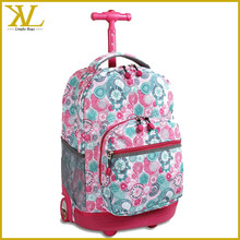 Custom 18inch Kids School Bag With Wheels, New Fashion Trolley School Bags For Girls