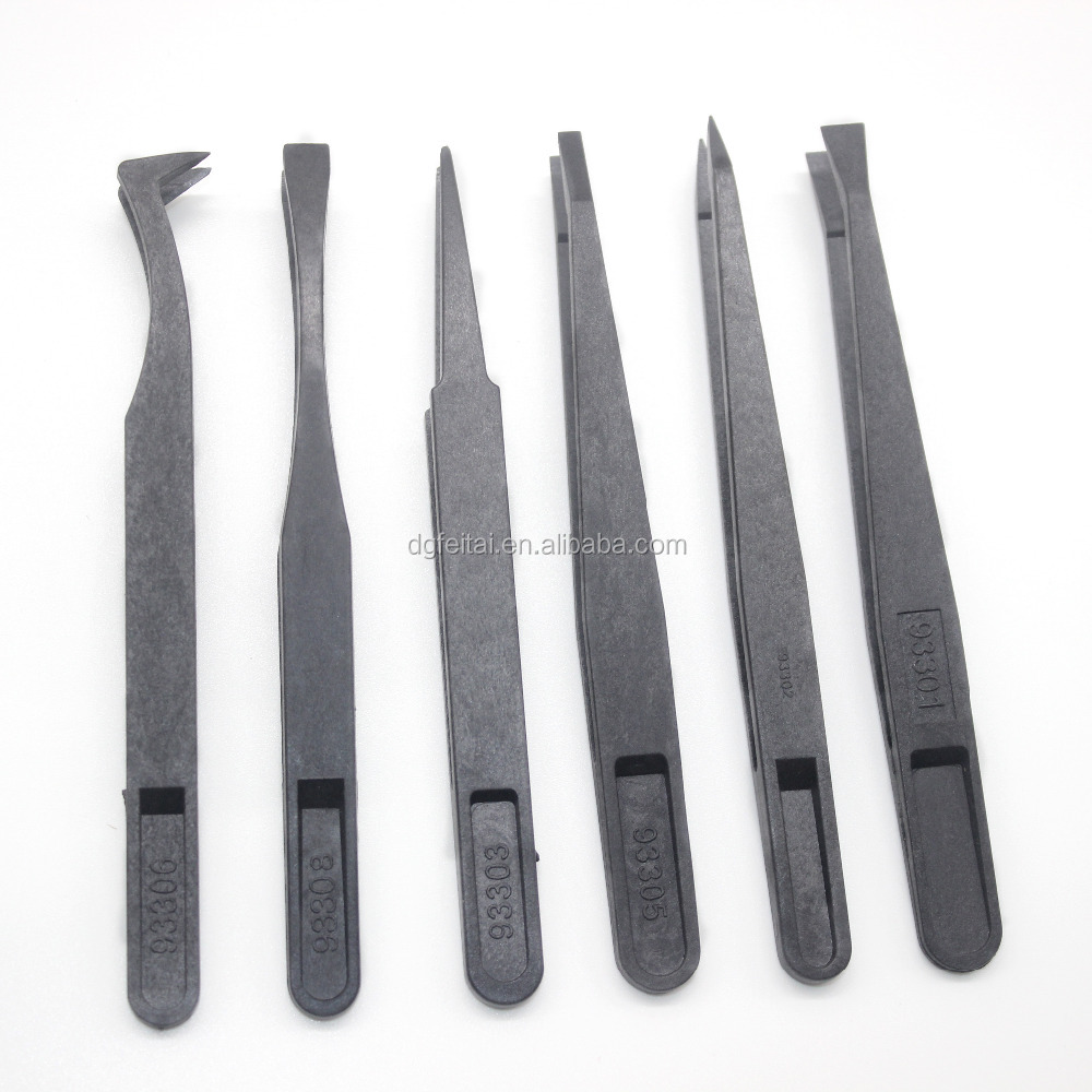 12cm ESD plastic industrial Tweezers black,Antistatic plastic conductive Tweezers
