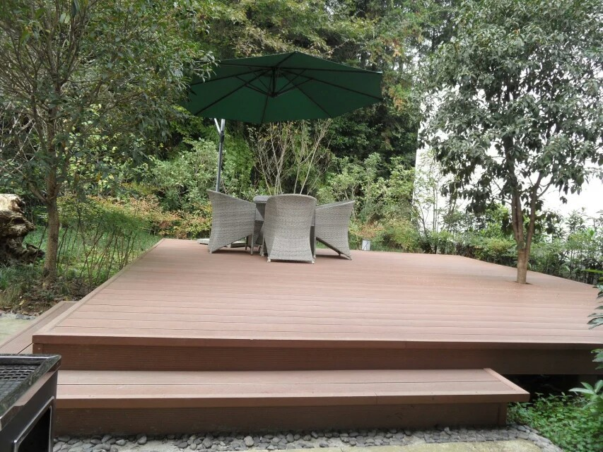 High quality wood decking terrace outdoor composite wpc decking anti-uv wpc board