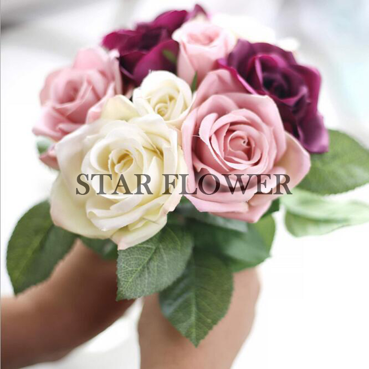 2017 New Product SF2017125 hand tied rose bouquet for wedding artifical <strong>flower</strong> Wholesale manufacturer