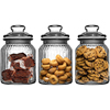 Set Of 3 glass storage jars ribbed glass for Tea Coffee Sugar Preserving/glass canister set