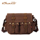 KAUKKO Men's Vintage Canvas Messenger Bags Wholesale with PU leather Hand Bag