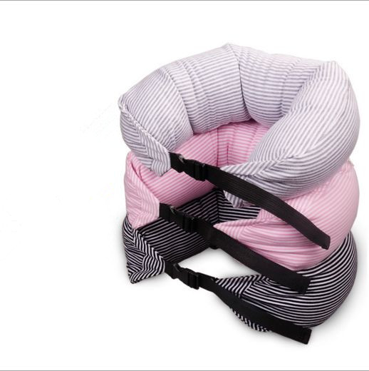 Stripe patterns plastic insert buckle cotton bar shaped neck pillow