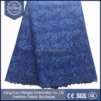 Unique fashion design fancy embroidered net beaded tulle fabric / royal blue metallic polyester mesh fabric net for lace dress