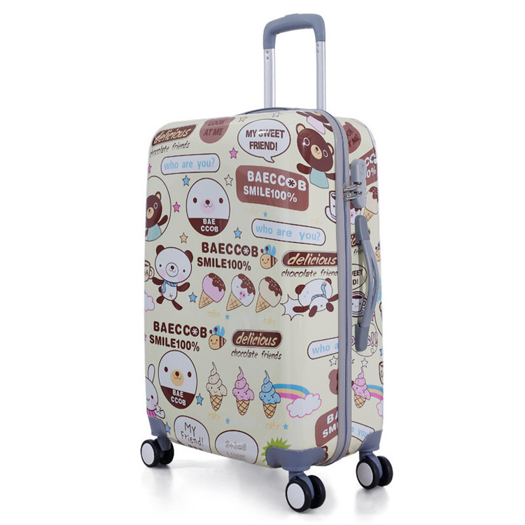 In stock kids ABS luggage cheap price cartoon printing ABS trolley luggage
