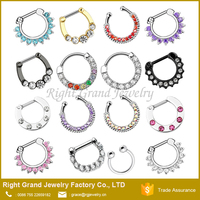 Assorted Surgical Steel Zircon Clip On Faux Setpum Multi Gems Hinged Septum Ring