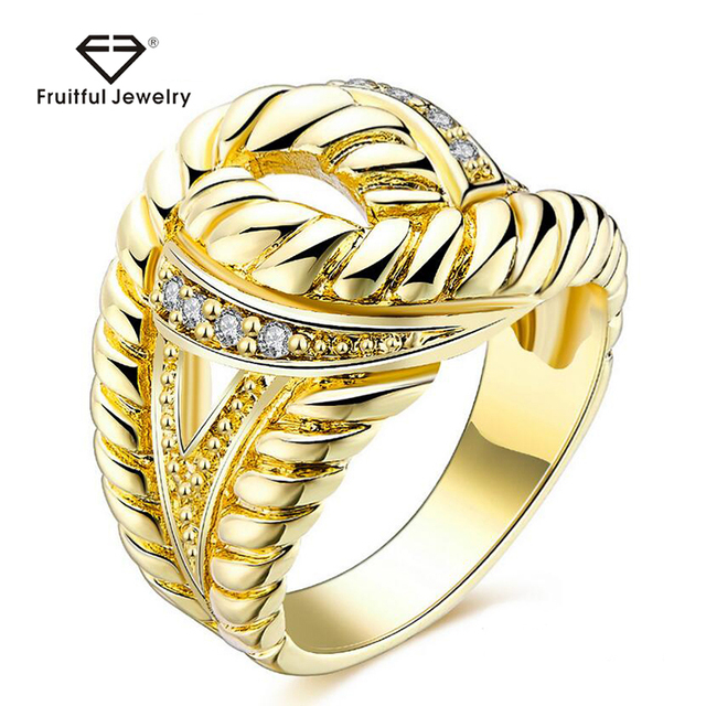 Newest Design Fashion Jewelry KC Gold Plating Woman Wide Finger Rings Pave Austrian Crystal Wedding Party Luxury Twisted Rings