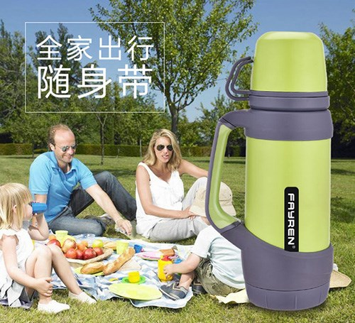 1200ML stainless steel wide mouth thermos vacuum water flask with 2 cup