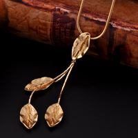 Wholesale 24K Gold Plating Fake Alloy Chain Fake Leaf Necklace