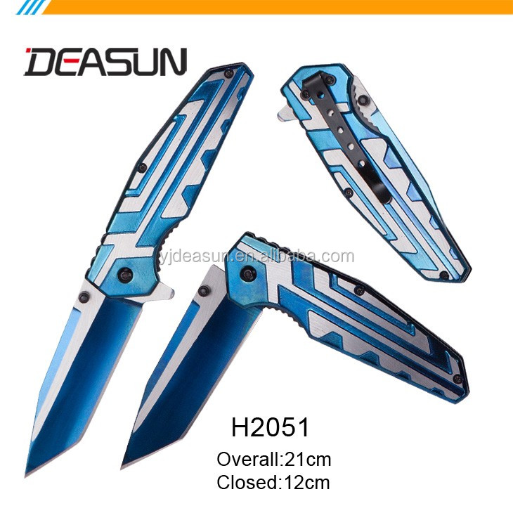 Titanium stainless steel handle folding knife H2034