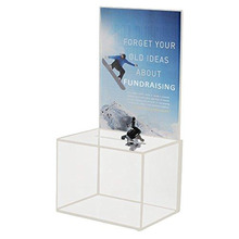 Top grade 98% acrylic locked clear lucite cash donation box india