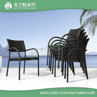 Cheap aluminum frame wicker dinning furniture stackable space saving outdoor rattan chair