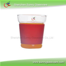 high temperature resistant borosilicate double wall glass unique design with silicone ring