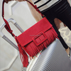Hot design red color tassel personal hand bags