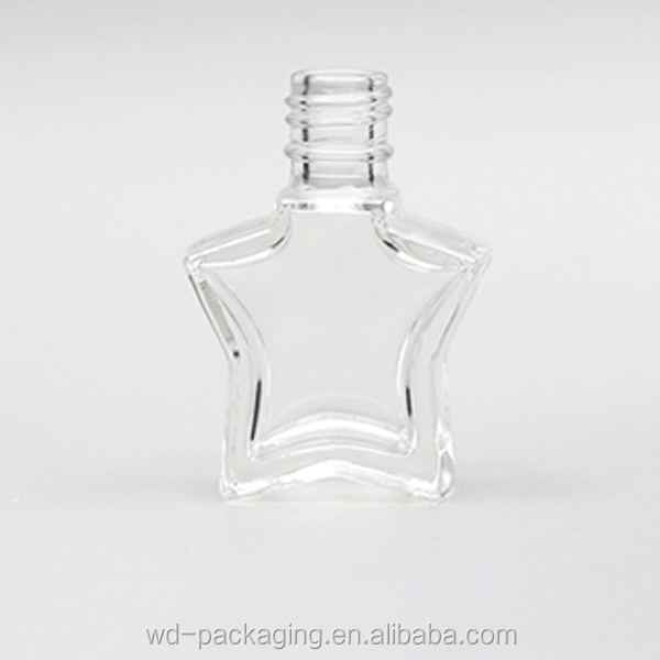 WD-01282A 5ml mini glass bottle for nail polish, neck size 11mm star shape gel nail polish bottle