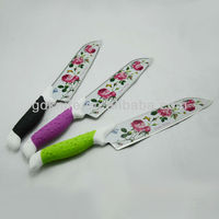 New style High quality stainless steel color rose coating kitchen knife,chef knife