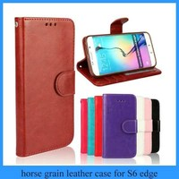 Good quality man women wallet phone case crazy horse grain leather wallet case for s6 edge with photo frame soft tpu holder