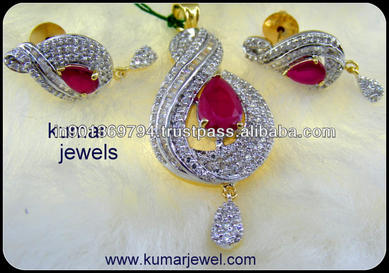 Diamond Ruby Pendant Set