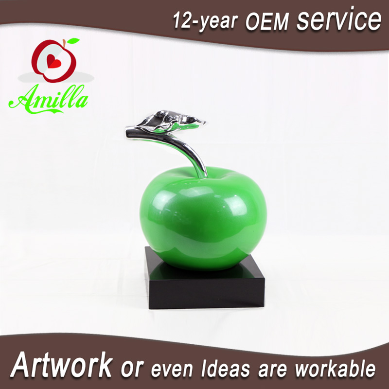 Decorative green apple figurine with marble base sculpture for home table ornaments