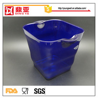 Eco-friendly wholesales 5L barware one wall two side handles plastic wine ice bucket