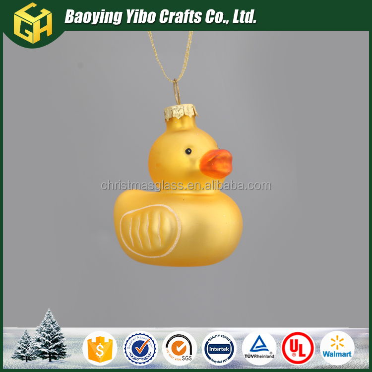 Small yellow duck glass ornaments christmas tree decoration